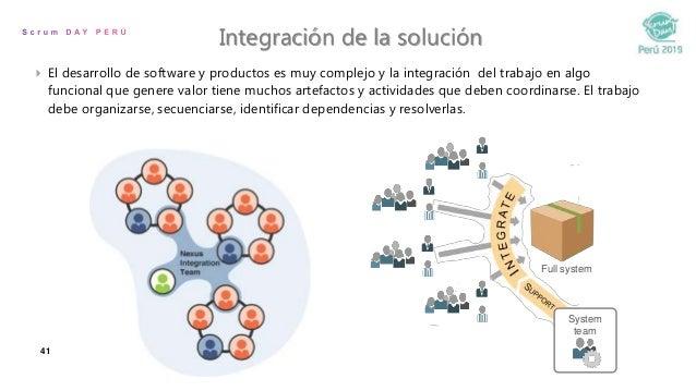 41 Integración de la solución  El desarrollo de software y productos es muy complejo y la integración del trabajo en algo...