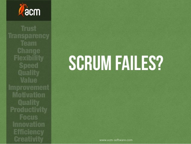 Scrum FAILES? www.acm-­‐so)ware.com Trust Transparency Team Change Flexibility Speed Quality Value Improvement Motivation ...