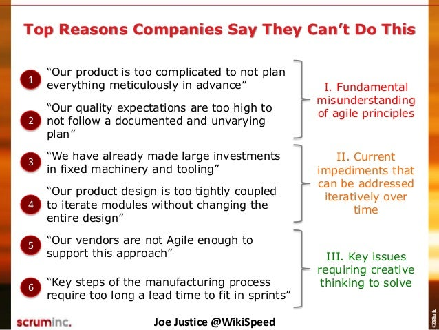 """©2014ScrumInc. Top Reasons Companies Say They Can't Do This """"Our product is too complicated to not plan everything meticul..."""