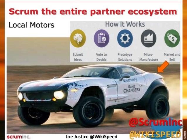 ©2014ScrumInc. Local Motors Scrum the entire partner ecosystem Joe Justice @WikiSpeed © 2011 Scrum Inc. @ScrumInc @WIKISPE...