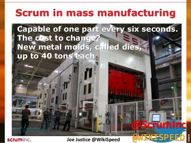 ©2014ScrumInc. Capable of one part every six seconds. The cost to change? New metal molds, called dies, up to 40 tons each...