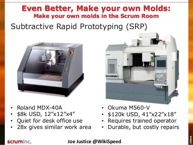 """©2014ScrumInc. Subtractive Rapid Prototyping (SRP) Even Better, Make your own Molds: • Roland MDX-40A • $8k USD, 12""""x12""""x4..."""