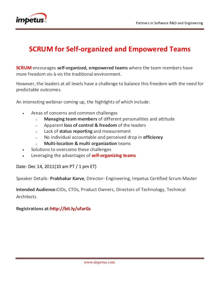 Partners in Software R&D and Engineering      SCRUM for Self-organized and Empowered TeamsSCRUM encourages self-organized,...