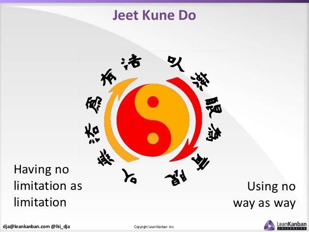 dja@leankanban.com @lki_dja Copyright Lean Kanban Inc. Jeet Kune Do Using no way as way Having no limitation as limitation