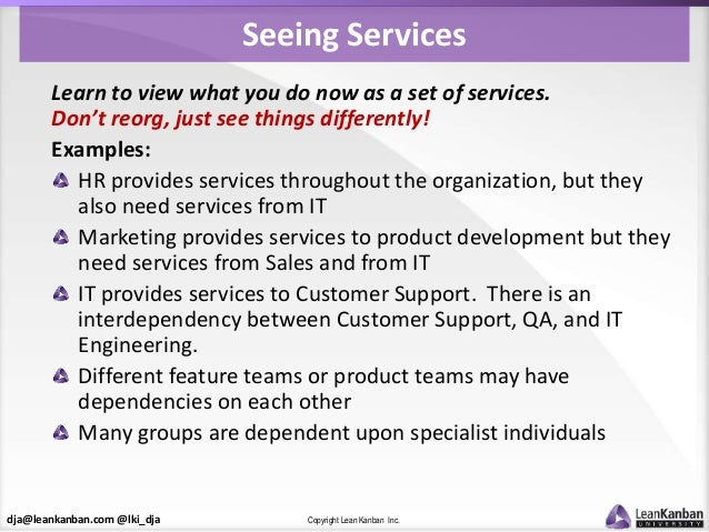 dja@leankanban.com @lki_dja Copyright Lean Kanban Inc. Seeing Services Learn to view what you do now as a set of services....