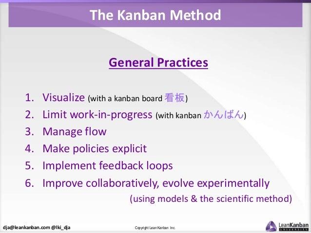 dja@leankanban.com @lki_dja Copyright Lean Kanban Inc. The Kanban Method General Practices 1. Visualize (with a kanban boa...