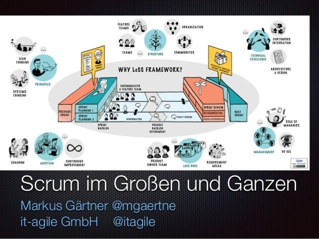 Text Scrum im Großen und Ganzen Markus Gärtner @mgaertne it-agile GmbH @itagile CONTINUOUS IMPROVEMENT COACHING GO  SEE L...