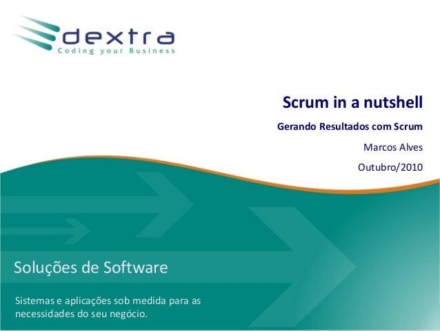 Soluções de Software Sistemas e aplicações sob medida para as necessidades do seu negócio. Scrum in a nutshell Gerando Res...