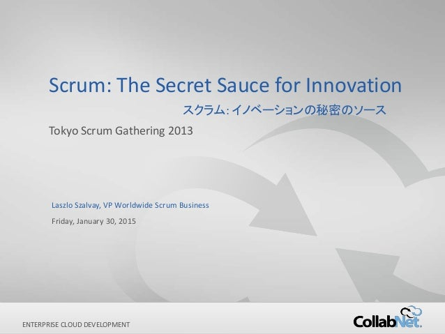 1 Copyright ©2012 CollabNet, Inc. All Rights Reserved.ENTERPRISE CLOUD DEVELOPMENT Scrum: The Secret Sauce for Innovation ...