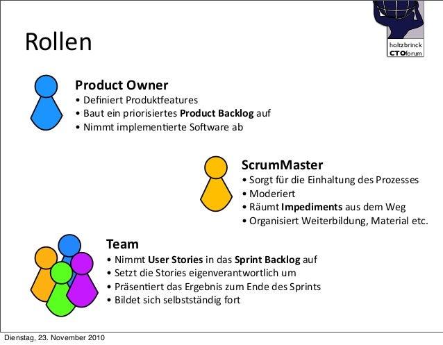 holtzbrinck CTOforum    Rollen Product  Owner •  Definiert  Produkjeatures •  Baut  ein  priorisiertes  Pro...