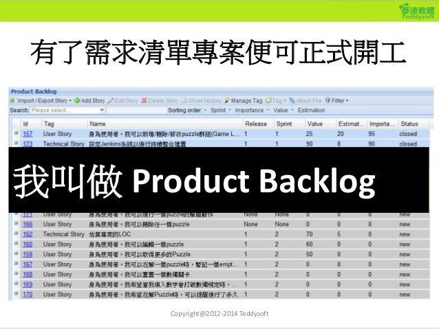 有了需求清單專案便可正式開工 我叫做 Product Backlog Copyright@2012-2014 Teddysoft