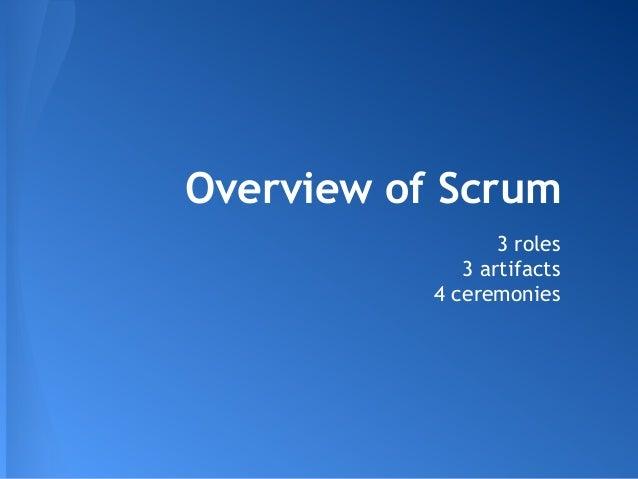 Overview of Scrum3 roles3 artifacts4 ceremonies