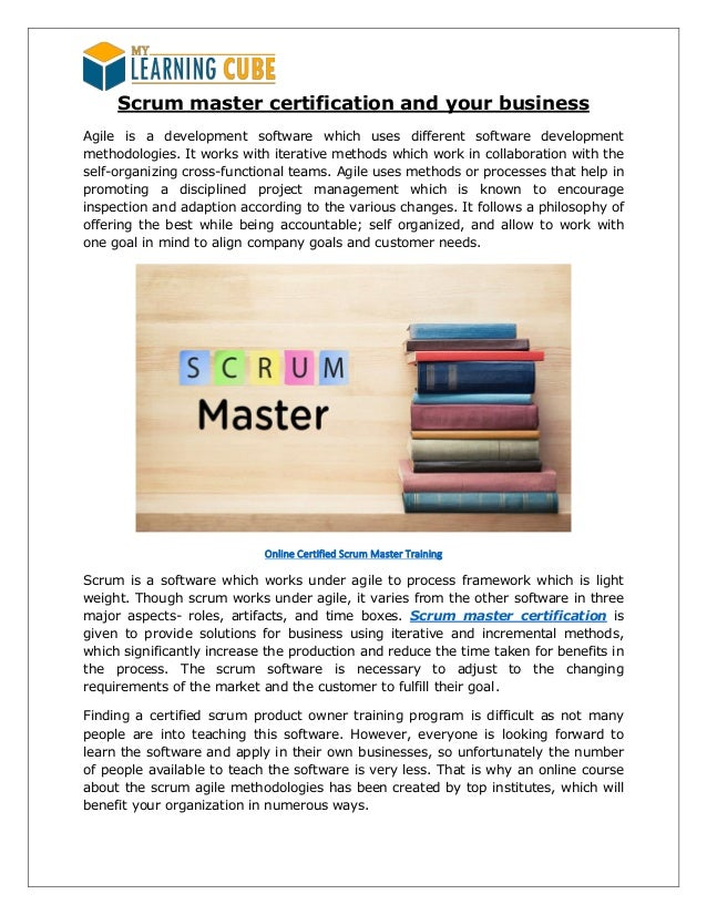 Scrum master certification my learningcube