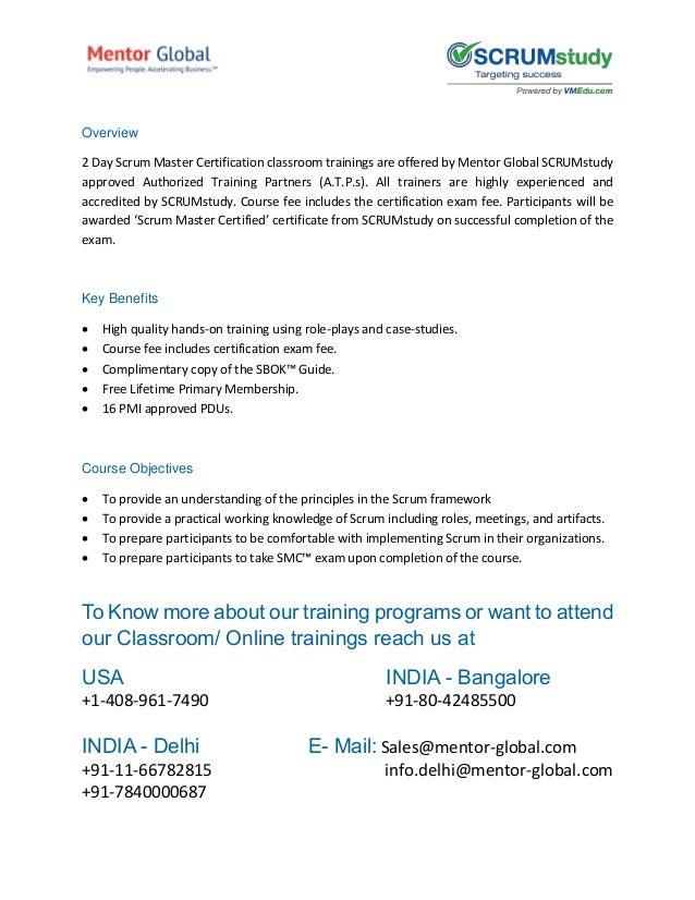 Scrum Master Certified Certification In Scrum Framework