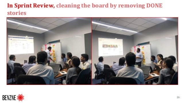 In Sprint Review, cleaning the board by removing DONE stories 26