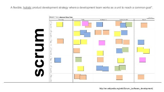 "scrum A flexible, holistic product development strategy where a development team works as a unit to reach a common goal"". ..."