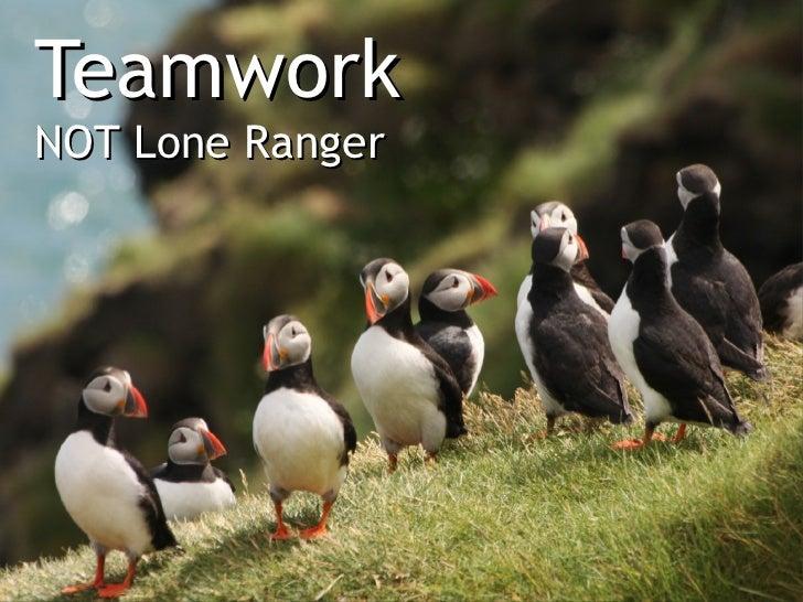 TeamworkNOT Lone Ranger