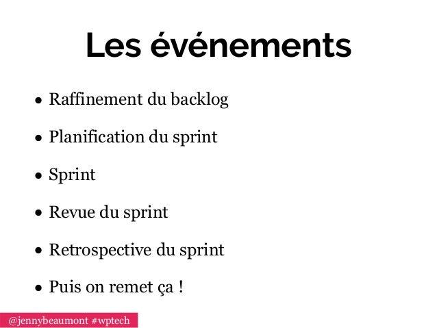 Les événements • Raffinement du backlog • Planification du sprint • Sprint • Revue du sprint • Retrospective du sprint • P...