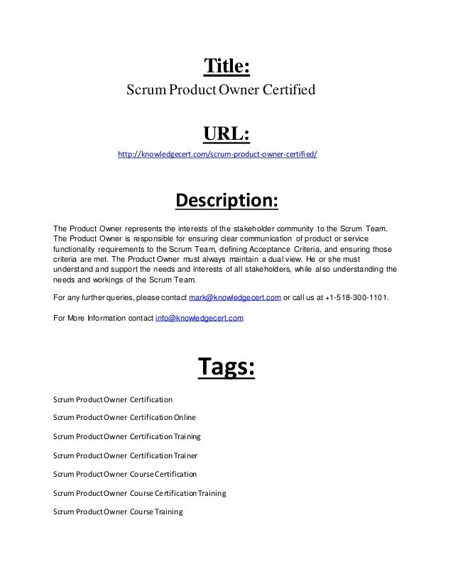 Scrum Product Owner Certification Document