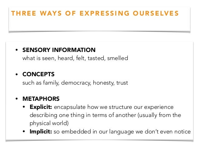 • SENSORY INFORMATION what is seen, heard, felt, tasted, smelled • CONCEPTS such as family, democracy, honesty, trust ...