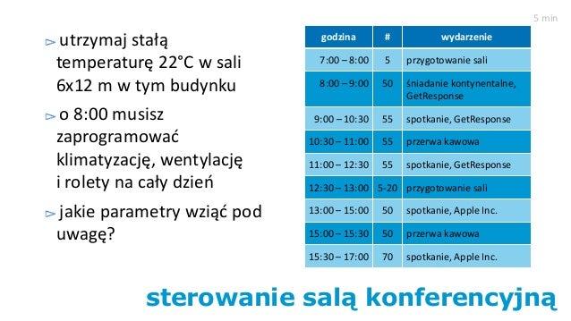 sterowanie salą konferencyjną utrzymaj stałą temperaturę 22°C w sali 6x12 m w tym budynku o 8:00 musisz zaprogramować klim...