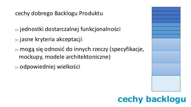cechy backlogu cechy dobrego Backlogu Produktu jednostki dostarczalnej funkcjonalności jasne kryteria akceptacji mogą się ...