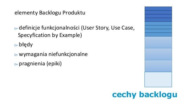 cechy backlogu elementy Backlogu Produktu definicje funkcjonalności (User Story, Use Case, Specyfication by Example) błędy...