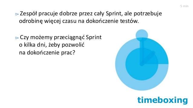 timeboxing Zespół pracuje dobrze przez cały Sprint, ale potrzebuje odrobinę więcej czasu na dokończenie testów. Czy możemy...