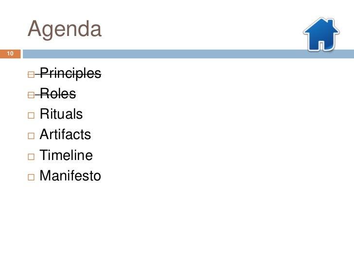 Agenda10        Principles        Roles        Rituals        Artifacts        Timeline        Manifesto