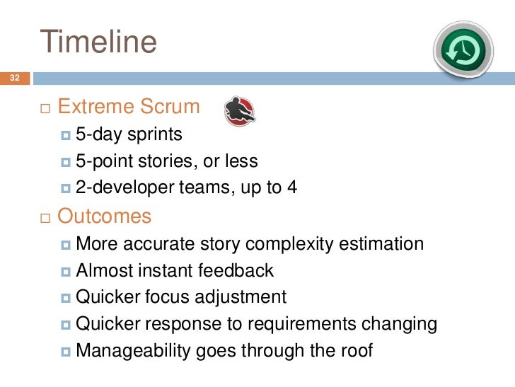 Timeline32        Extreme Scrum          5-day sprints          5-point stories, or less          2-developer teams, u...