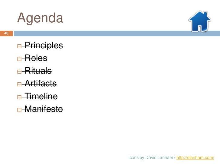 Agenda40        Principles        Roles        Rituals        Artifacts        Timeline        Manifesto            ...