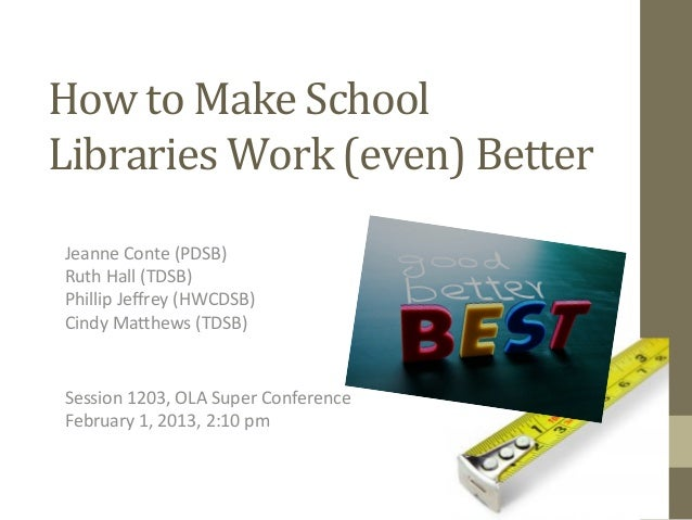 How to Make School Libraries Work (even) Better  Jeanne Conte (PDSB)   Ruth Hall (TDSB)  Phi...