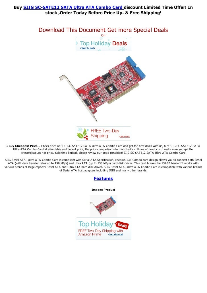 Buy SIIG SC-SATE12 SATA Ultra ATA Combo Card discount Limited Time Offer! In                   stock ,Order Today Before P...