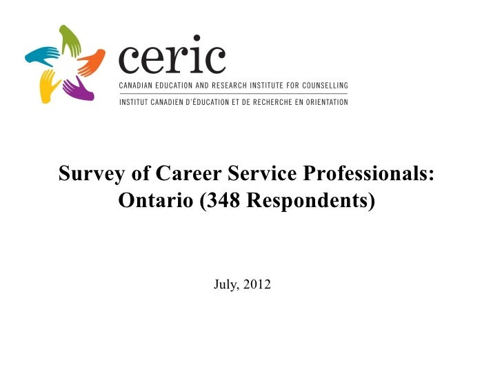 Survey of Career Service Professionals:     Ontario (348 Respondents)                July, 2012