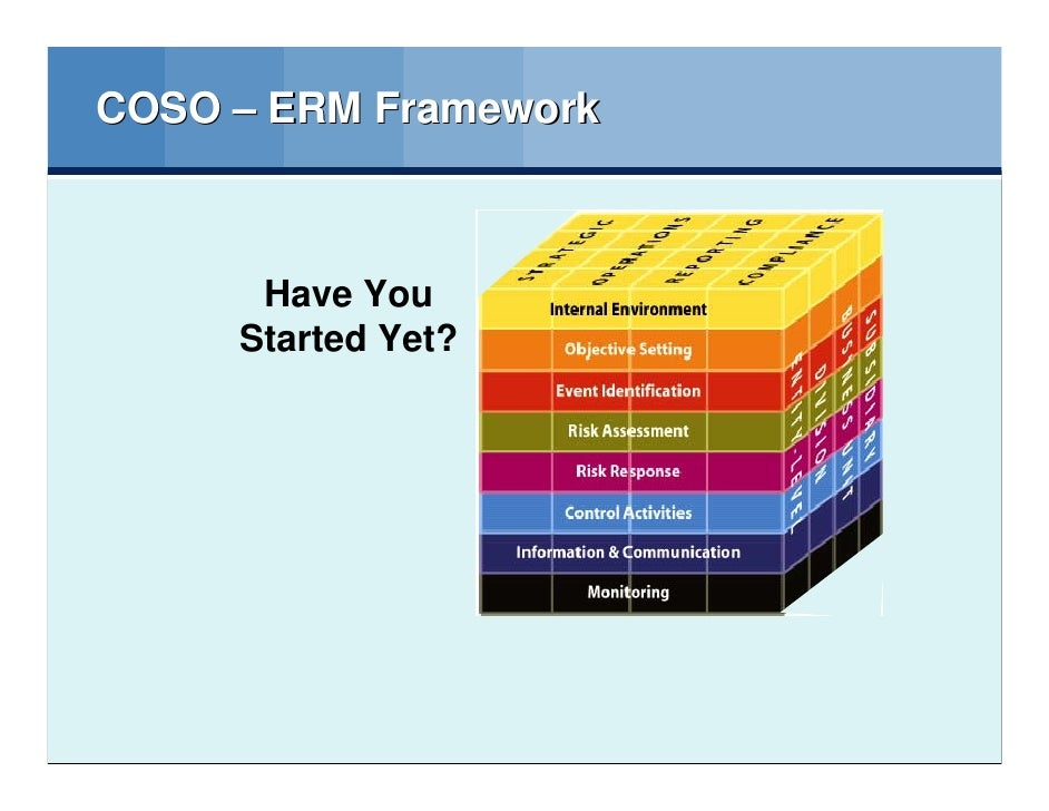 coso presentation Coso's enterprise risk management (erm) model has become a widely-accepted framework for organisations to use although it has attracted criticisms, the framework has been established as a.
