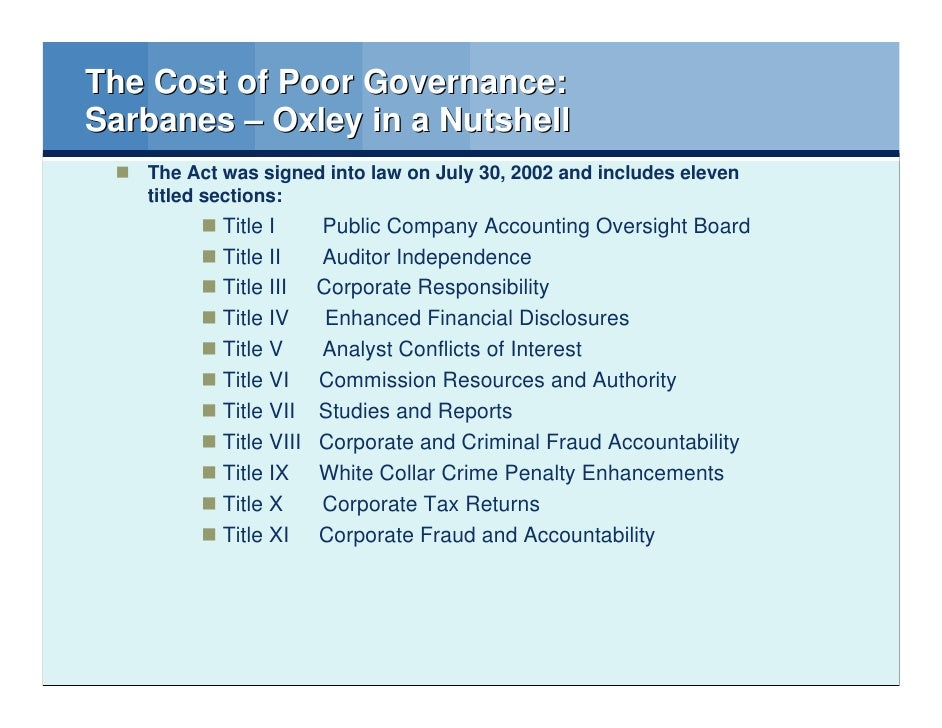 sarbanes oxley memo Section 404 is the most complicated, most contested, and most expensive to implement of all the sarbanes oxley act sections for compliance all annual financial reports must include an internal control report stating that management is responsible for an adequate internal control structure, and an assessment by management of the.