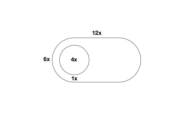 So, we have four different variables for the dimensions:  - switch width  - switch height  - toggle width/height  - gutter ...