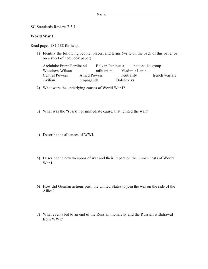 Name:__________________________________________SC Standards Review 7-5.1World War IRead pages 181-188 for help.   1) Ident...