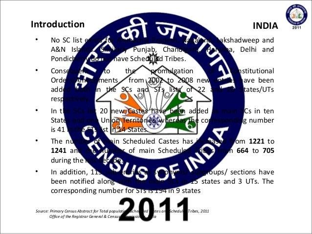 2011 Indian Census Scheduled Castes & Scheduled Tribes  Slide 3