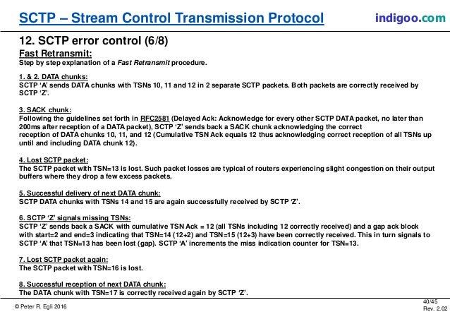 © Peter R. Egli 2016 40/45 Rev. 2.02 SCTP – Stream Control Transmission Protocol indigoo.com 12. SCTP error control (6/8) ...