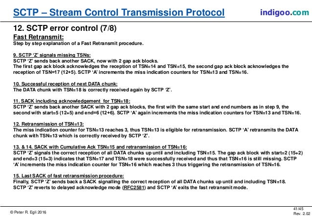 © Peter R. Egli 2016 41/45 Rev. 2.02 SCTP – Stream Control Transmission Protocol indigoo.com 12. SCTP error control (7/8) ...