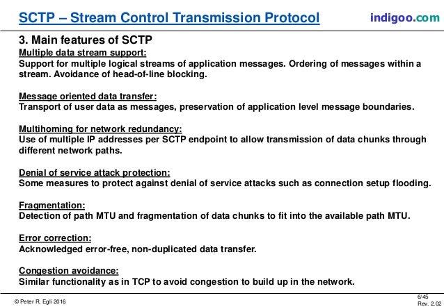 © Peter R. Egli 2016 6/45 Rev. 2.02 SCTP – Stream Control Transmission Protocol indigoo.com 3. Main features of SCTP Multi...