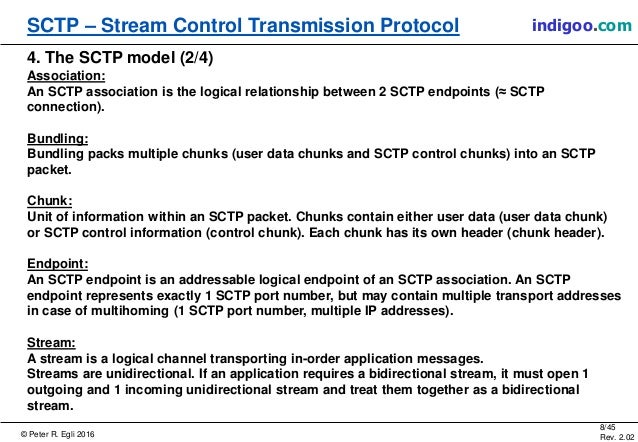 © Peter R. Egli 2016 8/45 Rev. 2.02 SCTP – Stream Control Transmission Protocol indigoo.com 4. The SCTP model (2/4) Associ...