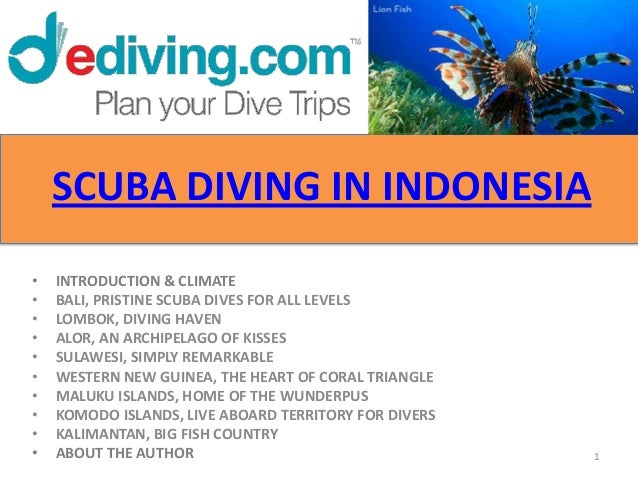SCUBA DIVING IN INDONESIA•   INTRODUCTION & CLIMATE•   BALI, PRISTINE SCUBA DIVES FOR ALL LEVELS•   LOMBOK, DIVING HAVEN• ...