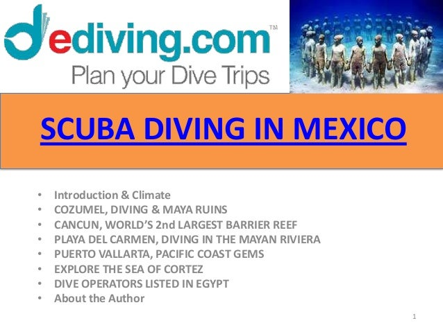 SCUBA DIVING IN MEXICO•   Introduction & Climate•   COZUMEL, DIVING & MAYA RUINS•   CANCUN, WORLD'S 2nd LARGEST BARRIER RE...