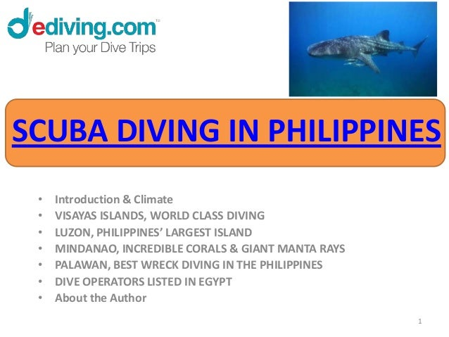 SCUBA DIVING IN PHILIPPINES •   Introduction & Climate •   VISAYAS ISLANDS, WORLD CLASS DIVING •   LUZON, PHILIPPINES' LAR...