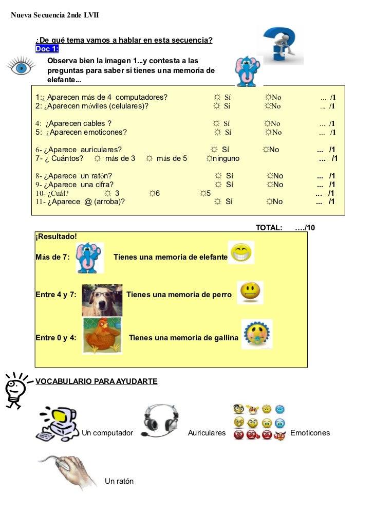 Nueva Secuencia 2nde LVII       ¿De qué tema vamos a hablar en esta secuencia?       Doc 1:          Observa bien la image...