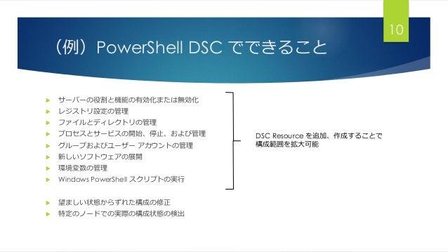 (例)PowerShell DSC でできること  サーバーの役割と機能の有効化または無効化  レジストリ設定の管理  ファイルとディレクトリの管理  プロセスとサービスの開始、停止、および管理  グループおよびユーザー アカウントの...