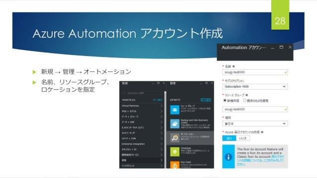 Azure Automation アカウント作成  新規 → 管理 → オートメーション  名前、リソースグループ、 ロケーションを指定 28