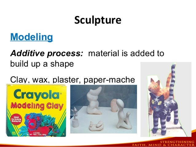 Sculpture Modeling Additive process: material is added to build up a shape Clay, wax, plaster, paper-mache
